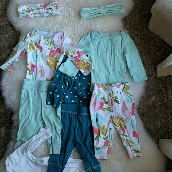Newborn Cloud Island Baby Mixed Lot 3 Pants and 3 Piece Outfit